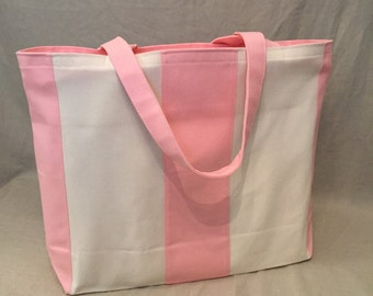 Pink and Cream Canvas Tote Bag / Beach Bag with Zipper