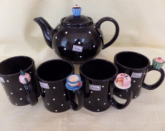 "Teapot and Mugs 5 pc. Set -- Fitz and Floyd ""Tea Party"" -- Cupcakes -- Cake -- Tea Party"