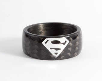 mens carbon fiber superman ring black and glossy wedding band water resistant very durable and hypoallergenic 01903_8n - Hypoallergenic Wedding Rings