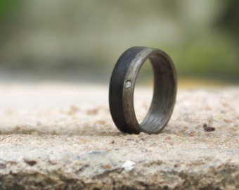 Women's wood and graphite ring with Swarovski. Natural wooden grey wedding band. Water resistant and hypoallergenic. (03500_6S)
