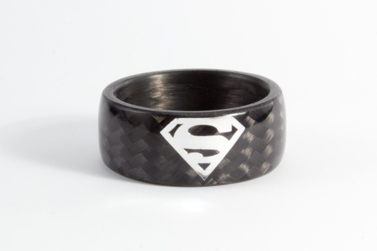 mens carbon fiber superman ring black and glossy wedding band water resistant very - Superman Wedding Ring