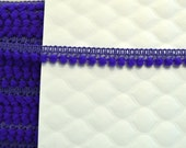 "Purple Mini Pompom Trim. 1/2"" Width. Purple Ball Trim. Mini PomPom Trim.  3 Yards."