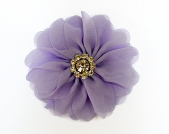 "Light Purple Chiffon Flowers. 3"" Chiffon Flowers with Glass Rhinestone Center. QTY: 1 Flower ~Brea Collection"