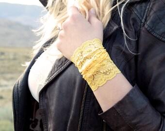 Lace Wrist Cuff Bracelet, Yellow Lace Wide Arm Band, Boho Cuffs, Lacey Fashion Accessory, Bohemian Wristband Tattoo Cover Ups, Festival