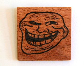 Troll Face Wood Burned Internet Meme Wall Art