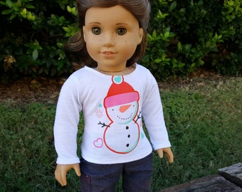 Happy Snowman Longsleeved Tee for American Girl Dolls