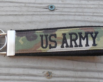 Personalized Army OCP (W2) Embroidered Custom Key Fob, Army Embroidered Wristlet Key Chain or Luggage Tag,  Military Key Fob
