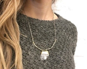 necklace, brass and quartz, handcrafted jewelry, unique birthday gift, boho, real stone, wife anniversary, organic, unique necklace, minimal