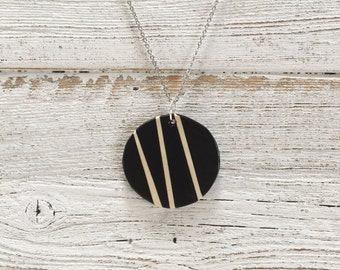 Ceramic Disc Pendant, Black, Cream, Unique Gift, Modern, Gift for Her, Minimal, Fashion, Ceramics, Ceramic Jewelry