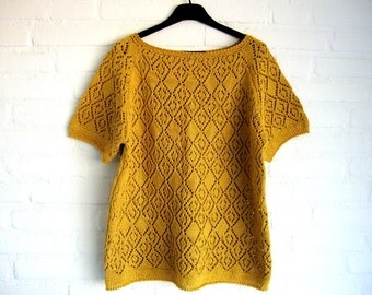 Loose Fit *Cotton*  Knitted Ajour Summer Top  Cool Summer Fashion Ocher Collored Handmade