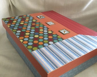 Boys Memory or Keepsake Box.  Dots, Stripes, Solids. An ideal gift for Baby Shower, Adoption, Christening or Baptism, 1st Birthday, etc.