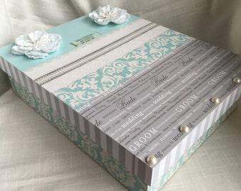 Aqua, Silver and WhiteWedding Memory or Keepsake Box. Ideal gift for Bridal Shower, Engagement, Wedding gifts.