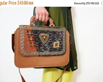 ON SALE Vintage Cross Body Bag Patent Leather and Lace Handbag