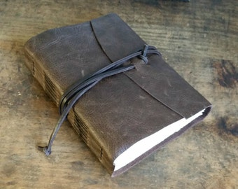 """Rustic Leather Journal, 4.5"""" x 6"""" Dark Brown Journal by The Orange Windmill on Etsy 1624"""