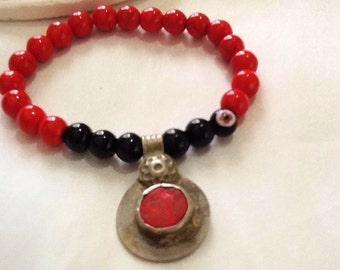 Tribal KUCHI bracelet with coin pendant , bohemian gypsy KUCHI bracelet , indie bracelet , nomad bracelet