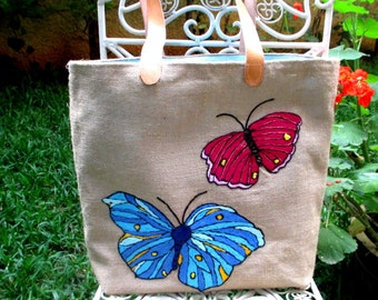 Butterflies hand embroidered on jute, handmade tote bags with leather straps, unconventional beach tote bag
