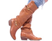 Tall Boots 90s Flat Pull Over KNEE BOOTS Beige Leather Perforated Slouch Adjustable Strap Chunky Cuban Heel Vintage sz Us 7.5 , Eur 38, Uk 5