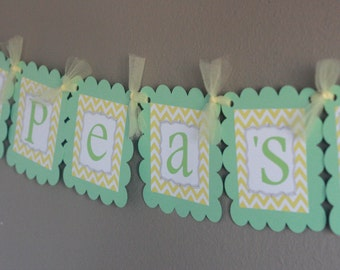 twins two peas in a pod baby shower banner light green and yellow
