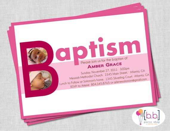 Pink Baby Girl Baptism Invite- Printable or Shipped