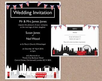 London City Skyline – UK Wedding Invitation and RSVP set – Print at home
