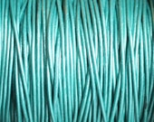 1mm Metallic Teal Genuine Leather Cord Round Turquoise Green - 2 Yard Increments