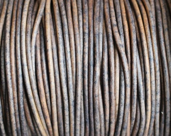 50 Meter Spool Grey Distressed 2mm Leather Cord Round Natural Dye