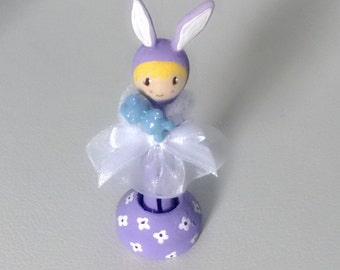 Purple and White Clothespin Doll with Rabbit Ears Peg Miniature OOAK Polymer Clay Doll Figurine Gift Cute Collectible