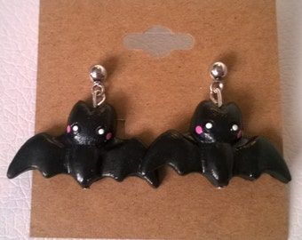 Kawaii Black Bat Post Dangle Earrings Ooak Jewelry