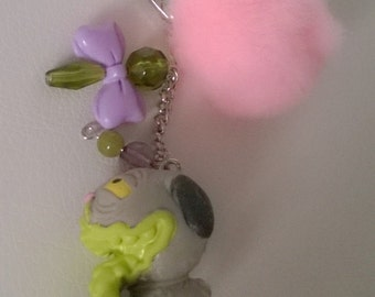 The Ugglys Dog Keychain Gift Ooak Small Figurine Toy Cute Bag Purse Charm Gray Green Vomit Snot Toy Pet