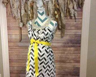 Gray and Black Chevron, yellow stripe double ruffle