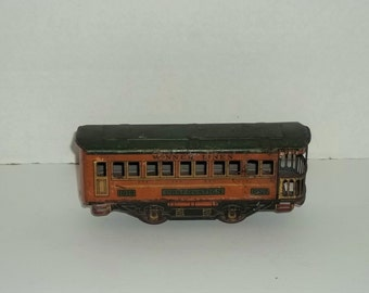 Vintage Tin Train Car Winner Lines - Observation Cart