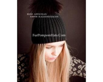 Handmade Fur Pom-Pom Hat Black Raccoon BLACK Knitted Base Beanie Women Arctic Store® Free Shipping