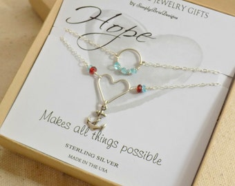 Hope anchor necklace, STERLING SILVER, red garnet, blue apatite beads, multi strand layered necklace, hope gift, layering jewelry gift