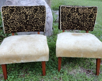 retro pair slipper chairs low upholstered  velvet upholstery mid century accent set chairs