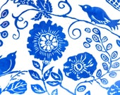 In Stock! Handmade Oval Serving PLATTER with FLORAL Pattern and Bird, New Design - Blue & White Pottery SGRAFFITO Flowers Garden Carved