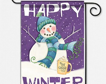 Happy Winter Snowman Garden Flag to welcome guests and celebrate the season.