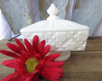 "Westmoreland Candy Dish, ""Old Quilt"" Cut Design Milk Glass Covered Candy Dish"
