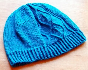 "PDF Pattern - ""Electricity"" Twisted Stitches Beanie Toque Hat Knitting Pattern - Instant Download"