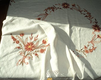 ANTIQUE EMBROIDERED LINEN Tablecloth with hand stitched Fall Flowers in an Orange, Coral and Brown on an elegant Ecru Linen Background