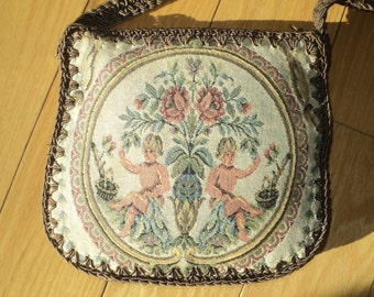 Vintage Woven Tapestry Purse, Made in Italy in Very Good Condition with hand crochet shoulder strap and brown silk taffeta lining