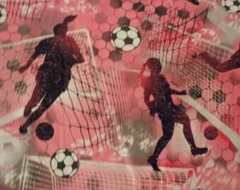 "Beautiful 100% Cotton Women's Pink Vibrant Soccer Fabric 36""  x 44"""