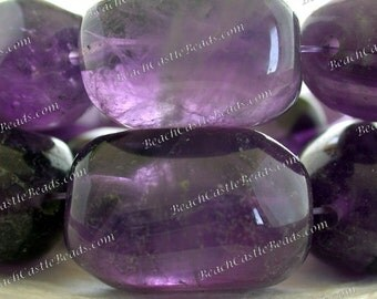 Amethyst Beads, 16 Large ~ 20 to 33mm Natural Amethyst Faceted Tumbled Beads, Semi Precious Stone Beads, Gemstone Beads SP-336-5
