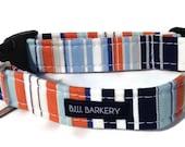 Get Preppy Dog Collar in Orange, White and Blue Stripes