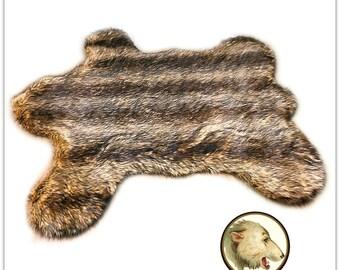 Faux Fur Teddy Bear Skin Accent Rug - Golden Brown Wolf Stripe Faux Fur -  Designer Shag Rugs  Fur Accents USA