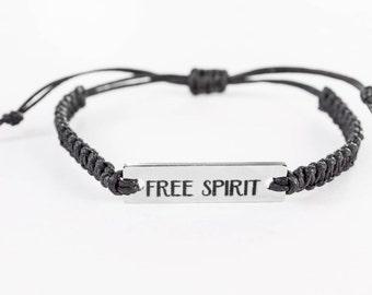 Free Spirit Bracelet, Word Bracelet, Inspiration Bracelet, Inspiration Jewelry, Stainless Steel, Gift for Her, Friendship Bracelet