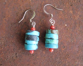 Turquoise and Coral Stack Earrings - Turquoise Stack Earrings