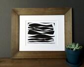 Linocut Print - Long Modern Organic Lines 8 x 10 Block Print - 1-7017