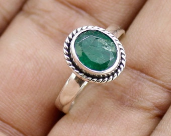 925 Solid Sterling Silver Faceted Emerald Gemstone Women Ring SJXR_0184
