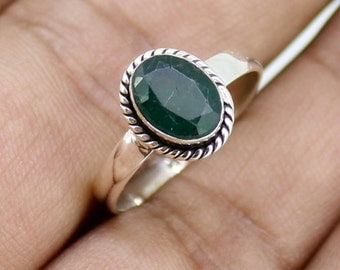 925 Solid Sterling Silver Faceted Emerald Gemstone Women Ring SJXR_0189