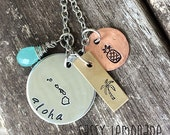 Aloha Hawaii State Necklace / Traveler Necklace / Pineapple Palm Tree  / Copper Silver Brass Copper Chalcedony Necklace / One of a Kind